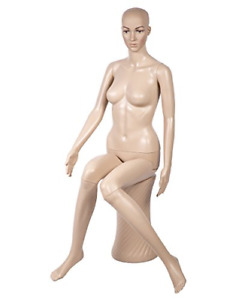 Realistic Features Seated Female Sitting Display Mannequin With Pedestal Base