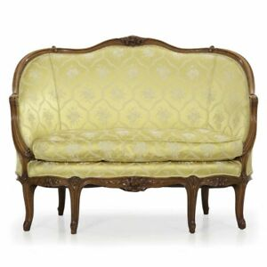 Louis Xv Style Carved Beechwood Antique Canape Sofa Settee Late 19th Century