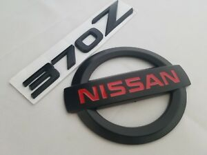 1 1 Black Fit Nissan 370z Trunk Emblem Round Logo And Letters Badge Nameplate