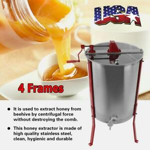 Manual 4 Frame Stainless Steel Honey Extractor Beekeeping Equipment
