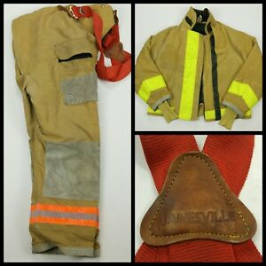 Janesville Lion Mens Firefighter Turnout Jacket And Pants 36x38x30 1990 Vintage