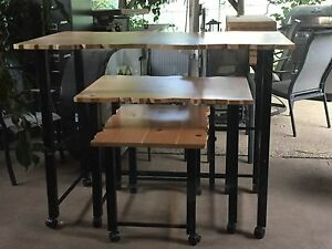 Nesting Tables Set Of 3 Light Wood And Metal For Retail Display Store Fixture