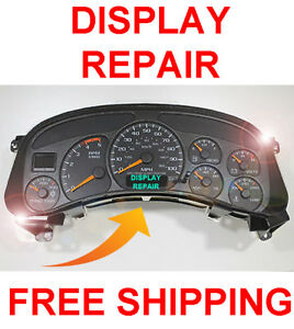 99 02 Chevy Silverado Speedometer Instrument Gauge Cluster Lcd Display Repair