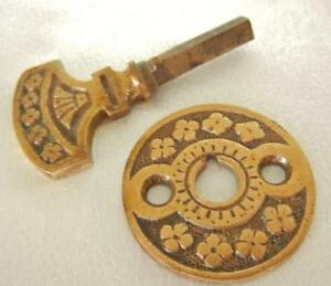 Antique Victorian Eastlake Design Brass Door Bell Turn Key Matching Plate