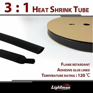 45ft Heat Shrink Tubing Black Adhesive Lined Dual Wall 3 1 Wire Wrap Cables 1 2
