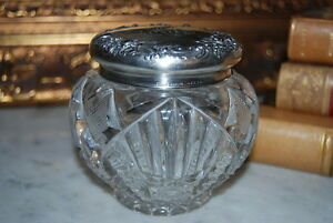 Early Gorham Sterling Silver Lid On A Cut Crystal Vanity Powder Jar