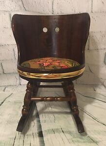 Vintage Child S Doll Wooden Half Barrel Rocking Chair With Padded Cushion
