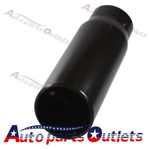 15 Inch Long Black Exhaust Tip Rolled End Angle Cut Tail Pipe 5 Inlet 6 Outlet