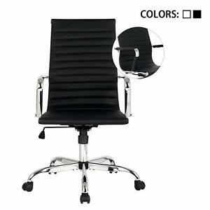 Executive Office Accent Chair High Back Adjustable Swivel Ribbed Desk Seat Black