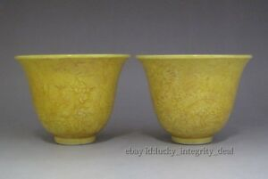 Beautiful Chinese Ming Monochrome Glaze Carved Porcelain Tea Cups Pair