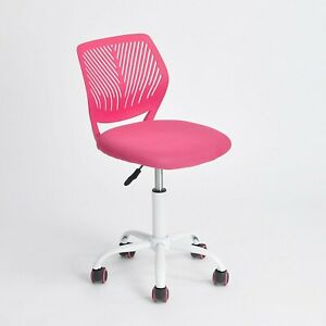 Pink Office Task Adjustable Desk Chair Mid Back Home Children Study Chair