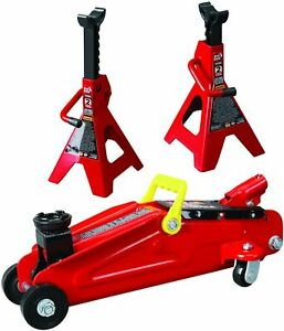 Torin Big Red Hydraulic Trolley Floor Jack Combo With 2 Jack Stands 2 Ton Ca