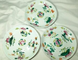 Chinese Antique 19c Porcelain Plate Hand Painted W Mark Floral