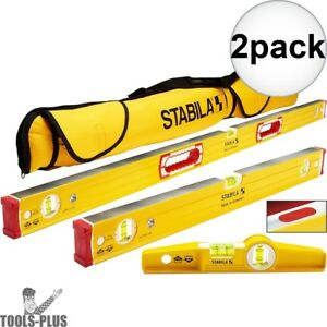 Stabila 48380 96m Magnetic Level Set Kit 48 24 Torpedo And Case 2x New