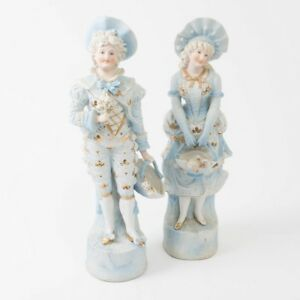 Antique Pair Of German Bisque Statues Pale Blue Gilt Large Figurines Gold 15 T