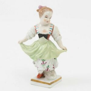 Antique Sitzendorf Porcelain Figurine Young Dancing Girl Curtsey Signed 4 5 H