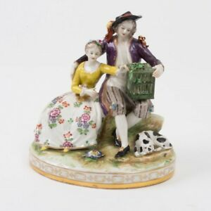 Antique Volkstedt Porcelain Romantic Couple Figurine Dog Bird Cage Signed German