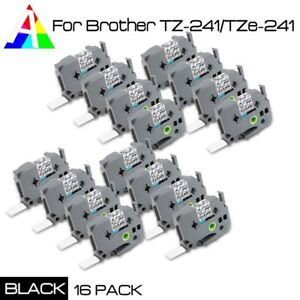 16pk Compatible Brother Tze 241 Label Tape Cartridge Black On White 18mm P touch