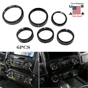 Set 6 Black Air Conditioner Audio Switch Decor Ring Cover Trim For Ford F150 New