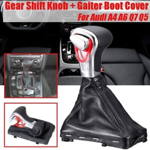 Auto Gear Shift Knob Gaiter Boot Cover Pu Leather For Audi A3 A4 A5 A6 Q5