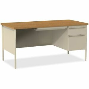 Lorell Right Pedestal Desk Rh 66 34 x30 34 x29 1 2 34 Putty Oak Llr