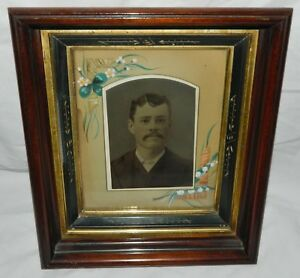 1880s Victorian Eastlake Walnut Shadow Box Frame Fancy Matt Tintype Portrait