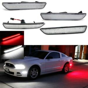 For 10 14 Ford Mustang White red Clear Lens Front rear Side Marker Lamps Led Kit