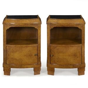 Pair Of French Art Deco Period Burl Elm Nightstands Bedside Tables Circa 1930