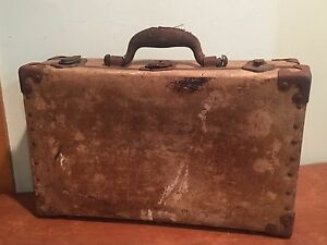 Antique Leather Covered Suitcase Document Box