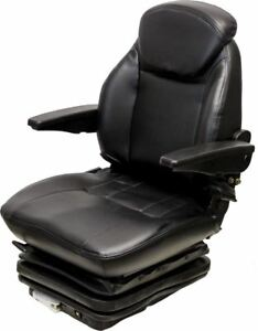 Black Vinyl Seat W Mech Suspension With 10 1 4 Side To Side Mount For Tractors