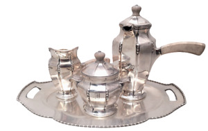 Black Starr Frost Sterling 3pc Tea Service With Tray Art Deco