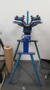 4 1 Silk Screen Printing Press W Stand Manual Four Color One Station For Hats