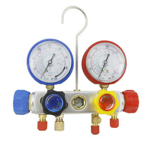 2 Set 4 Way Ac Manifold Gauge R410a R22 R134a Set 60 Hoses And Coupler Adapters