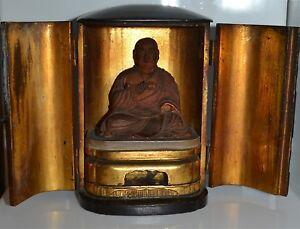 Antique Japanese Lacquered Shrine Wooden Buddhist Figure