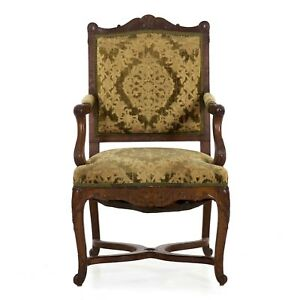 Antique Rococo Revival Arm Chair In French Louis Taste W Handwoven Upholstery