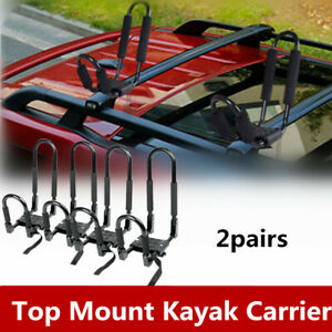 2 Pairs Kayak Roof Rack Canoe Boat Surf Ski Snowboard Suv Car Top Mounted J Bar