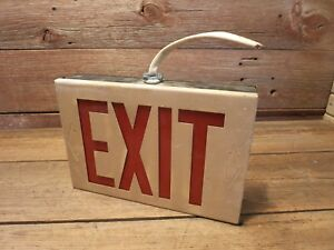 Vintage Metal exit Sign Red Glass Ceiling Or Wall Mount
