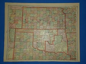 Vintage 1909 Indian Territory Oklahoma Map Old Antique Original Tunison S Map