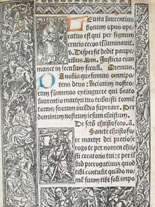 Book Of Hours Leaf Vostre Horae Woodcut St Stephen St Christopher Paris 1501