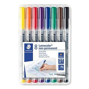 Staedtler Lumocolor Fine 0 6 Mm Line Non permanent Pen pack Of 8 Colors