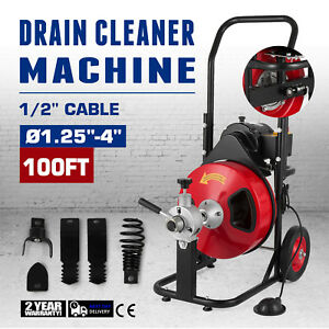 100 Feet Pipe Drain Cleaner Machine Cleaning Flexible Bathtub 1700rpm