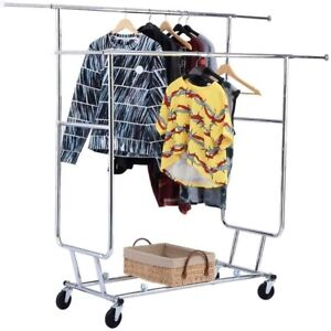 Double Garment Rack Hanger Holder 4 casters Collapsible Chromed plated Iron