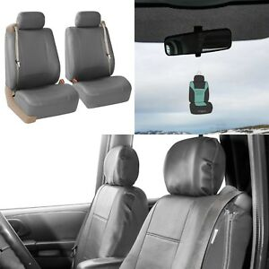 Front Bucket Seat Covers For Built In Seatbelt Car Sedan Suv Solid Gray W Gift