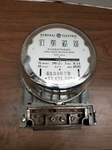 Steampunk General Electric Ar265 Kilowatt Hour Meter 240 Volts 15 Amps Glass