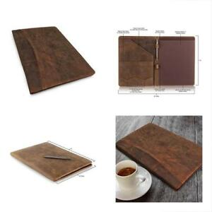 Leather Portfolio Punchless Binders Professional Resume Padfolio Document