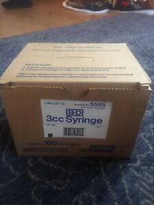 100 Pk B d 3cc Hypodermic Disposable Syringe Luer Lok Ref 5585