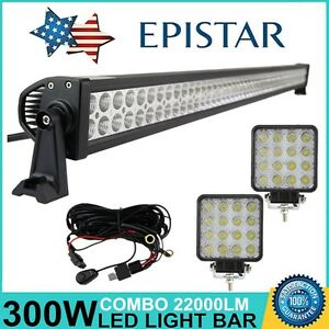 52inch 300w Led Light Bar Combo Beam Lamp Driving Drl 4wd 48w Pods Work wires 50