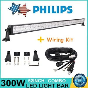 Philips 52inch 300w Led Light Bar Offroad Suv Boat Jeep Ford Drl Wiring Harness