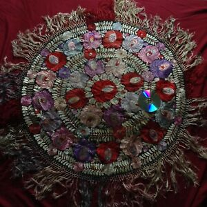 Antique Large Matyo Embroidered Handmade Tablecloth Scarf Black Red Flower Silk