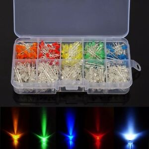 5x500pcs 3mm Round Top Led Diode Light White Yellow Red Green Blue Assorted Box